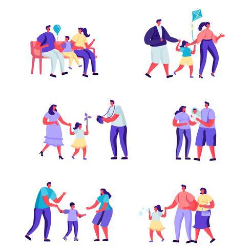 Satz glückliche Momente der flachen Leute von Familiencharakteren vektor