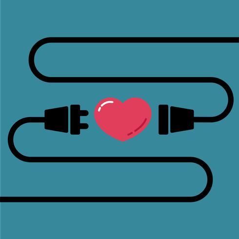 Männlicher und weiblicher Stecker, zum für Liebe und Herz für Valentinstag anzuschließen vektor