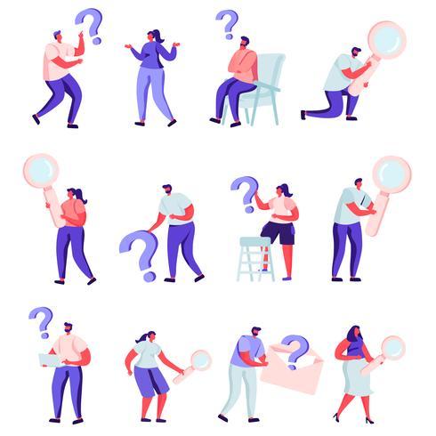 Uppsättning av platta människor som letar efter något karaktärer vektor