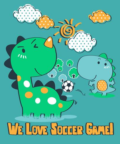 We Love Soccer Game Dinosaur vektor