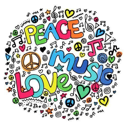 Psychedelischer Entwurf der Friedensmusik-Liebehippie vektor