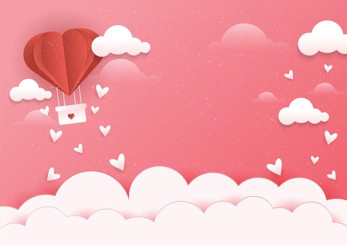 Herz-Heißluftballon-Szene vektor