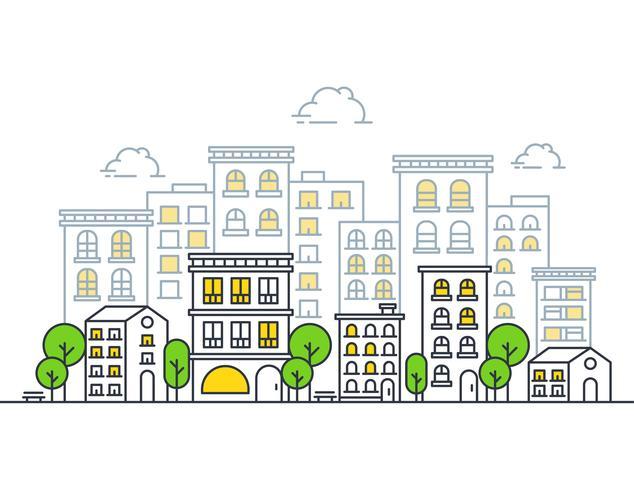 Modern illustration av staden vektor