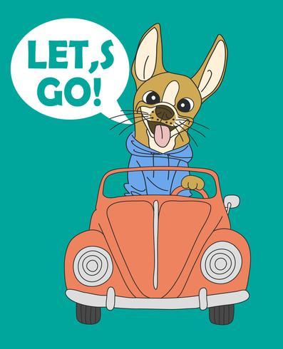 Handgezeichnete Let's Go Dog vektor