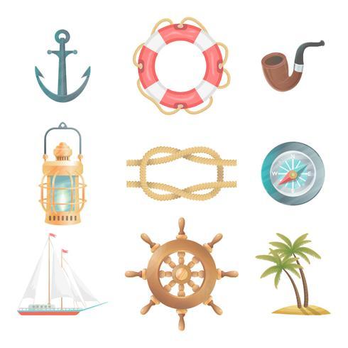 Sammlung von nautischen Elementen vektor