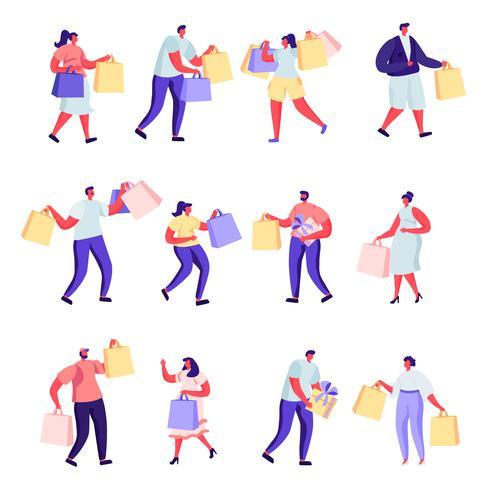 Satz flache Leute, die an den Mall- oder Supermarktcharakteren kaufen vektor