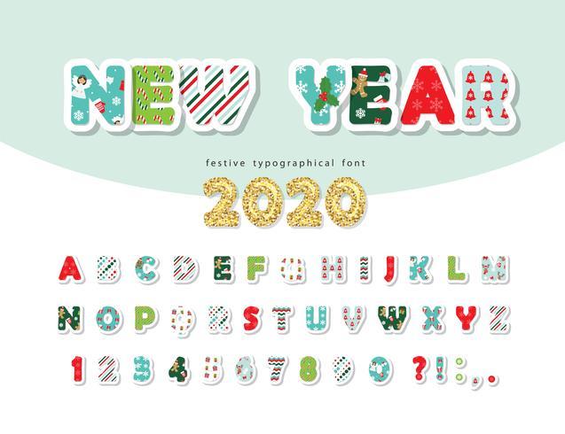 Nytt år 2020-teckensnitt vektor