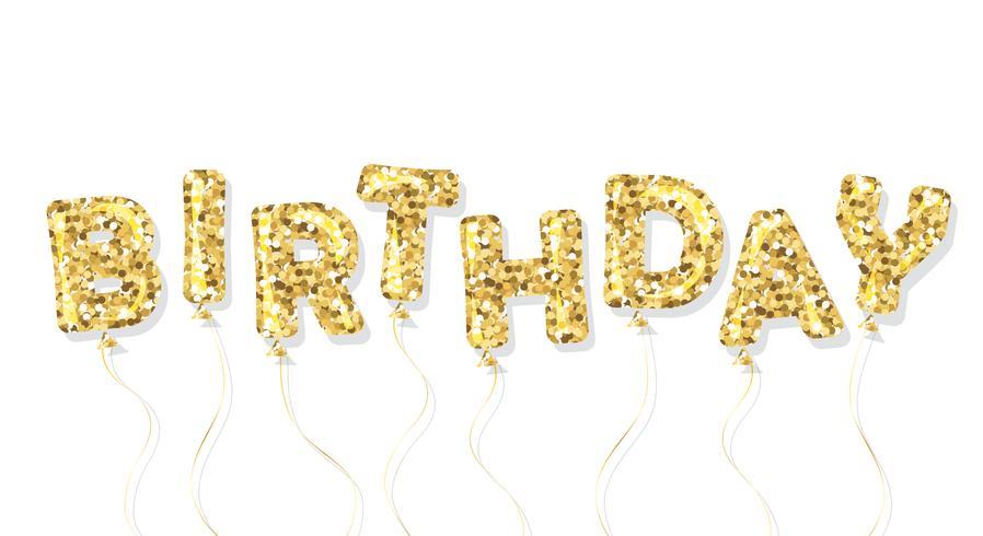Födelsedag guld glitter ballong inskrift vektor