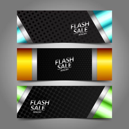 Sammlung von Flash Sale Metallic-Banner vektor