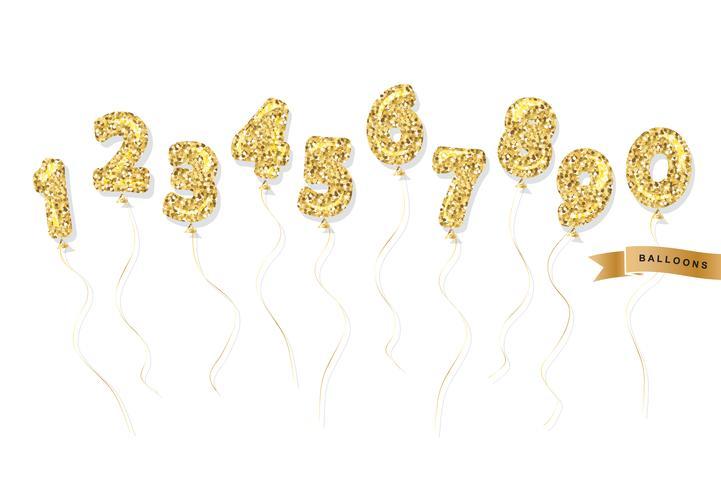 Luftballon gold Glitzer Zahlen festgelegt vektor