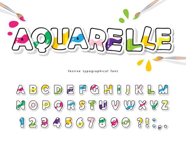 Kreativa akvarell ABC-bokstäver och siffror vektor
