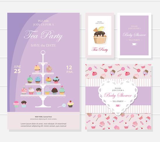 Süße Vorlagen mit Cupcakes stehen und Süßigkeiten. vektor
