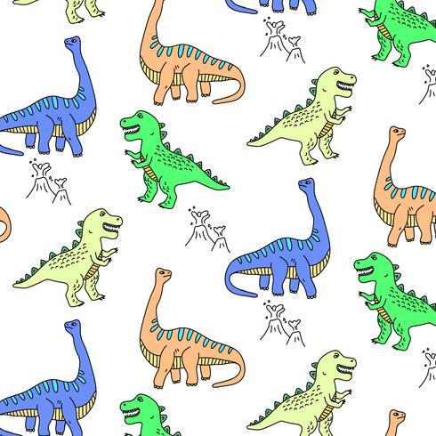 Hand gezeichnetes spielerisches buntes Dinosauriermuster vektor