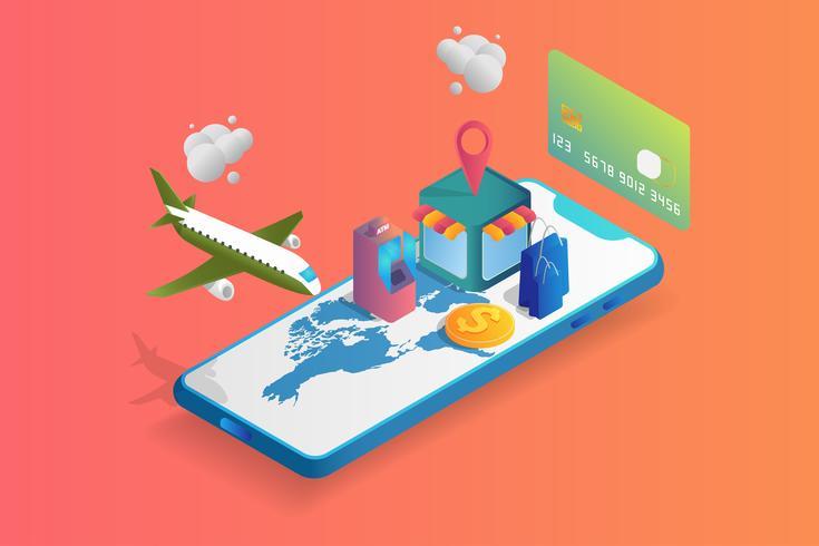 Isometrische 3D-Online-Markt auf Handy oder Smartphone vektor