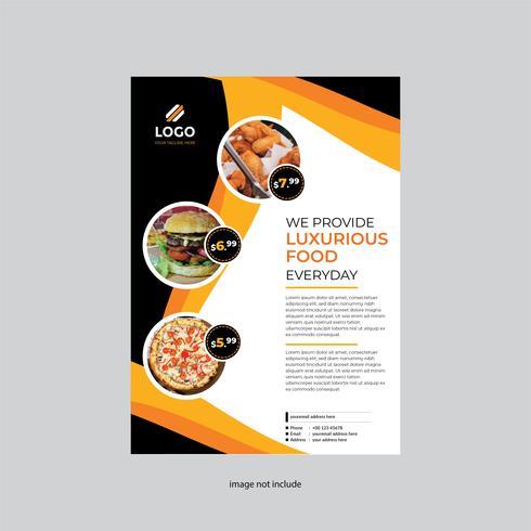 einfache und moderne Restaurantfliegerentwurfs-Orangenfarbe vektor