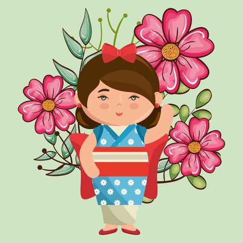 flicka kawaii med blommatecken vektor
