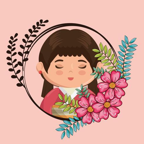 kawaii japanisches Mädchen mit Blumencharakter vektor