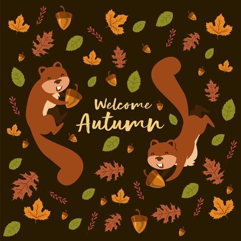 Squirrely iLlustration med blad och nötter ekmönster för hösten vektor