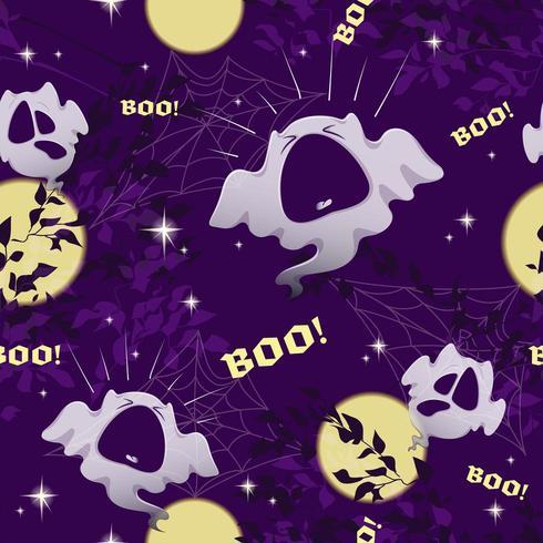 Vector sömlösa mönster för Halloween med roliga spöken, måne, himmel och stjärnor