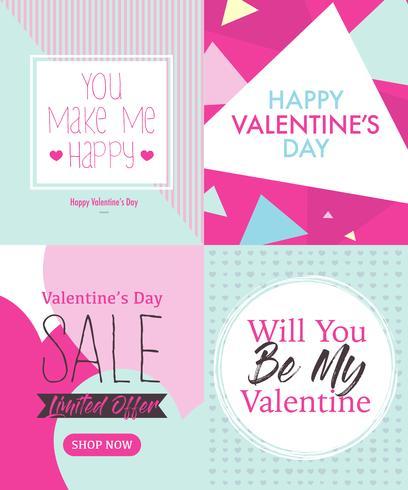 Fyra valentindagskortdesignmall med gullig rosa och Tosca blå färg vektor