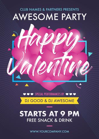 Valentine's Day Party Club Event Flyer Design Layout Mall vektor
