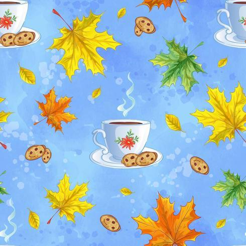 Nahtloses Vektormuster mit heißem Kakao, Plätzchen und Herbstlaub vektor