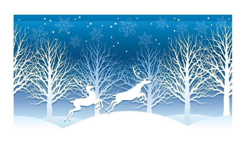 Weihnachtsvektorillustration mit Winterwald und -ren. vektor