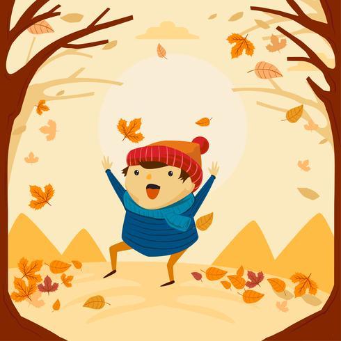 Nettes und lustiges spielendes Kind und Tanz in der Herbstherbstsaison vektor