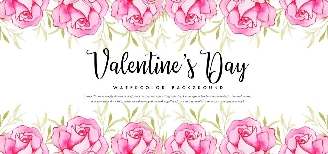 Rosor akvarell Valentine Banner vektor