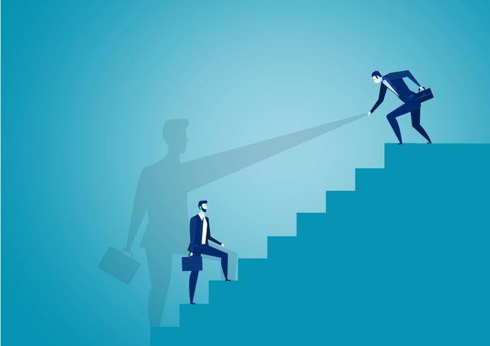 Affärsmannen hjälper partner att stiga till den röda topprafen vektor