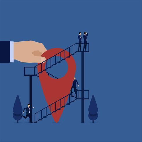 Affärsman som springer upp trappan uppåt och söker efter ett bättre ställe vektor