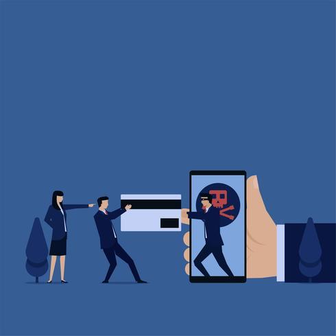 Geschäftshacker, der Kreditkarte vom Telefon schnappt vektor