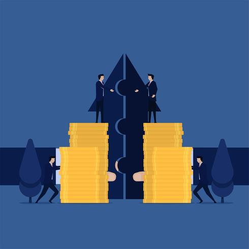 Manager verschmelzen Unternehmen und Gewinn mit einer Vision. vektor