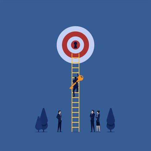 Der Manager holt den Schlüssel und steigt die Leiter hinauf, um das Ziel freizuschalten vektor