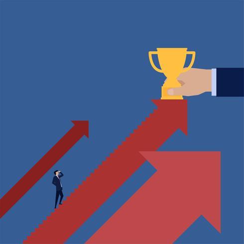 Business nan klättring trappa till trofé vektor