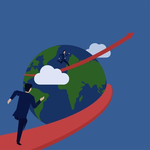 Mann läuft rund um den Globus vektor