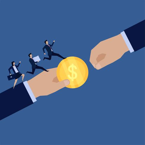 Übergeben Sie das Geben der Münze zu anderem und Teambetrieb, um Papiere zu holen vektor