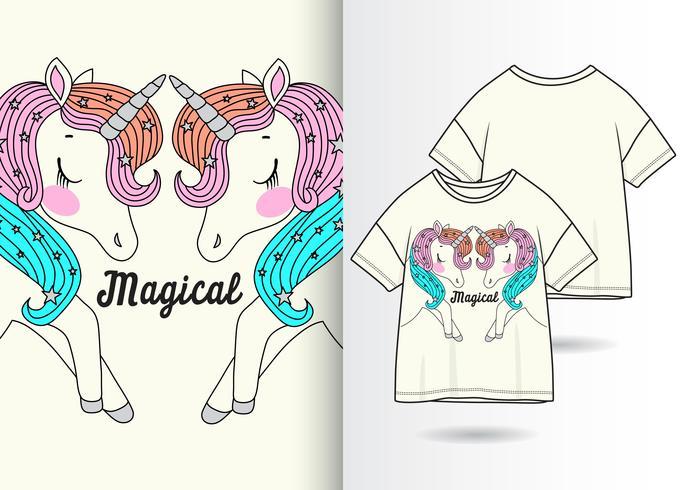 Magische Einhorn-Paare Hand gezeichneter T-Shirt Entwurf vektor