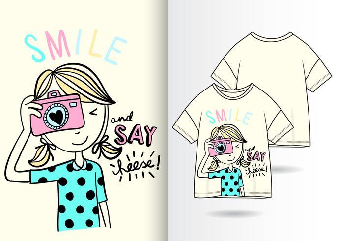 Hand gezeichnetes nettes Mädchen mit T-Shirt Design vektor