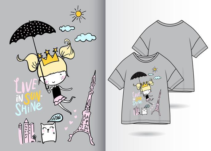 Leben Sie im Sonnenschein-Hand gezeichneten T-Shirt Entwurf vektor
