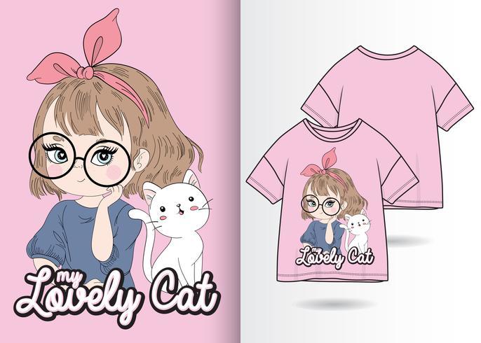 Mein reizender Katzen-Hand gezeichneter T-Shirt Entwurf vektor