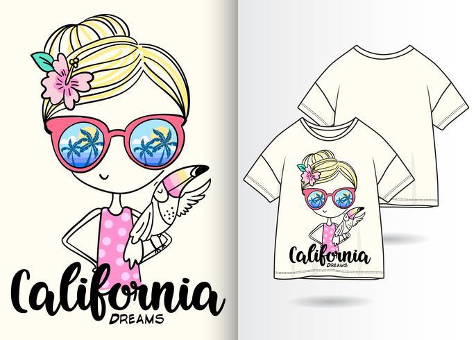 Kalifornien träumt Hand gezeichnetes Mädchen-T-Shirt Design vektor