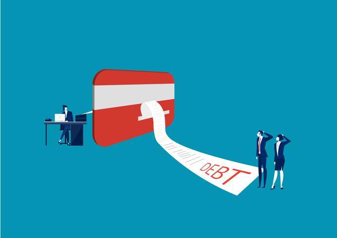 Geschäftsmann und Frau, die unsere Kreditkarte mit on-line-Rechnungszahlung schauen vektor