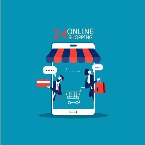 Geschäftsleute, die das Einkaufen auf Smartphone fördern vektor