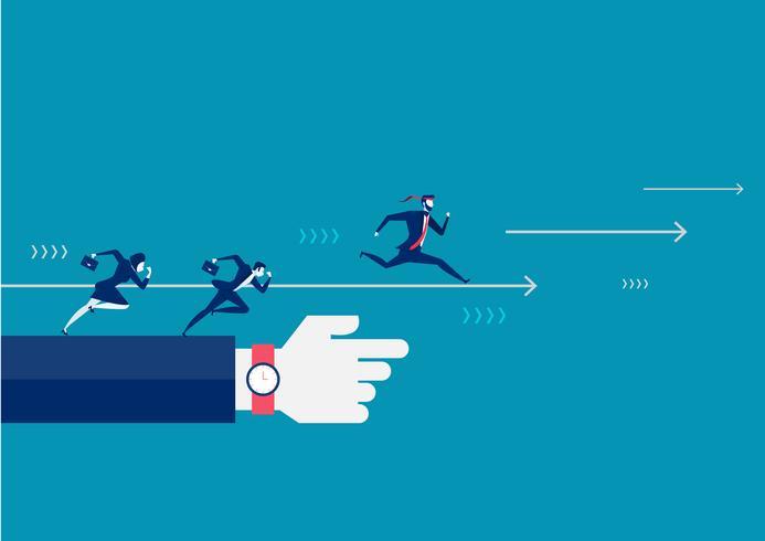 Geschäftsleute, die vorwärts laufen und nach Erfolg suchen, zeigten durch riesige Hand des Führers vektor