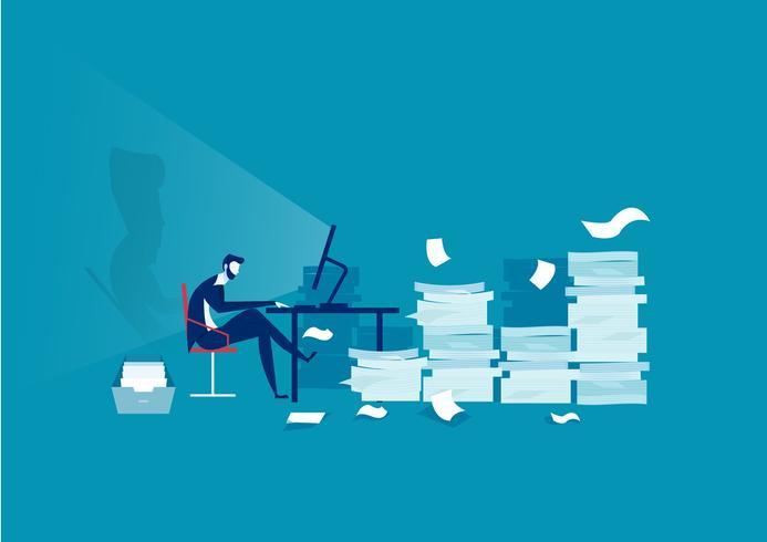 Geschäftsmann hart arbeiten mit vielen Papieren im Hintergrund vektor