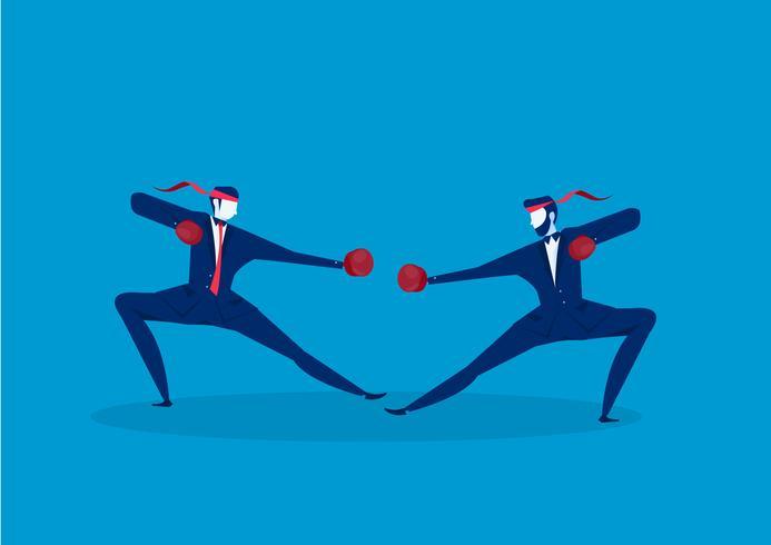 Geschäftsmannboxen und kämpfendes Geschäft vektor