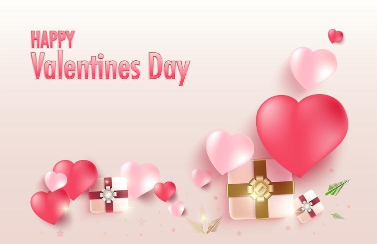 Valentinstaggrußkarte mit Geschenk und Herzen vektor