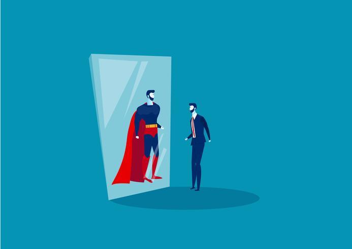 Geschäftsmann schaut in den Spiegel und sieht einen Superhelden vektor