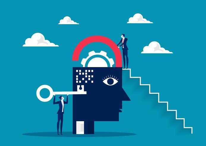 affärsman tar nyckeln för att låsa upp hjärnan vektor